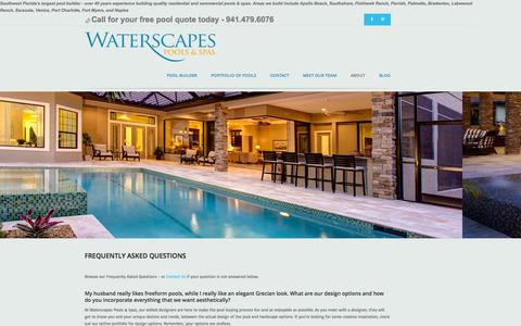 Screenshot of About Page FAQ Page waterscapespools.com - Questions about Swimming Pools and Answers to Pool Questions - captured Oct. 27, 2014