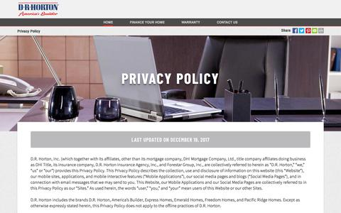 Screenshot of Privacy Page drhorton.com - Privacy Policy | D.R. Horton - captured Jan. 4, 2018