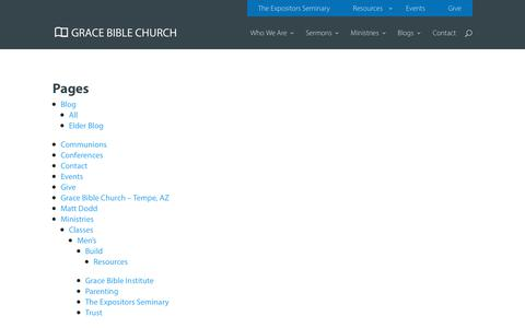 Screenshot of Site Map Page gbcaz.org - Sitemap - Grace Bible Church - captured Sept. 30, 2018
