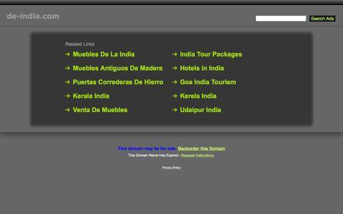 Screenshot of Home Page de-india.com - De-India.com - captured Oct. 18, 2015