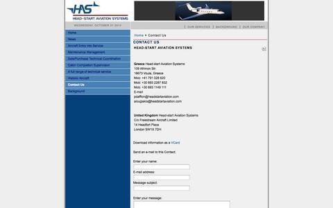 Screenshot of Contact Page headstartaviation.com - Head-Start Aviation Systems - Contact - captured Oct. 1, 2014