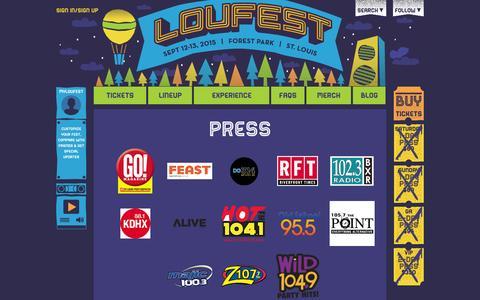 Screenshot of Press Page loufest.com - Press | LouFest - captured Oct. 31, 2014