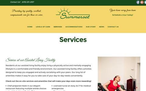 Screenshot of Services Page summersetalc.com - On-Site Services at Our Atlanta, GA Assisted Living Facility - captured Dec. 2, 2016