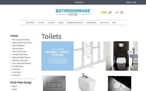 Screenshot of bathroomwarehouse.com.au - Toilets and Toilet Suites | Bathroomware House - captured June 8, 2017