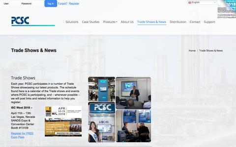 Screenshot of Press Page pcscsecurity.com - Trade Shows & News   PCSC - captured Feb. 20, 2018