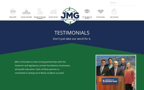 Screenshot of Testimonials Page jmg.org - JMG Testimonials | What People Have to Say about JMG - captured Oct. 14, 2018