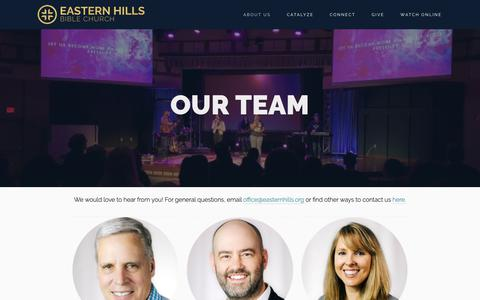 Screenshot of Team Page easternhills.org - Our Team — Eastern Hills Bible Church - captured Sept. 26, 2018