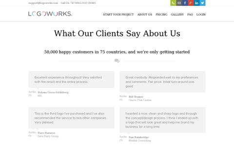 Screenshot of Testimonials Page logoworks.com - Testimonials Logoworks   Professional Logo Design, Website Design, and much, much more - captured July 20, 2014