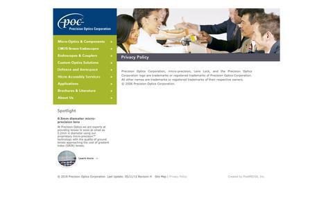 Screenshot of Privacy Page poci.com - Precision Optics Corporation - Privacy Policy - - captured Nov. 3, 2018