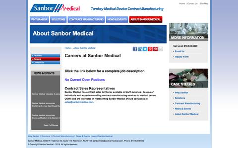 Screenshot of Jobs Page sanbormedical.com - Sanbor Medical Careers Are Located in the U.S. and China - captured Jan. 16, 2018