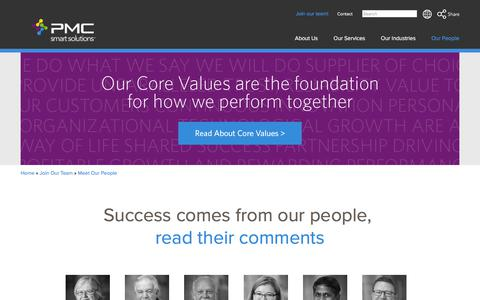 Screenshot of Team Page pmcsmartsolutions.com - PMC SMART Solutions :. Meet Our People - captured July 15, 2018