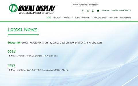 Screenshot of Press Page orientdisplay.com - Orient Display - Latest News - captured Oct. 18, 2018