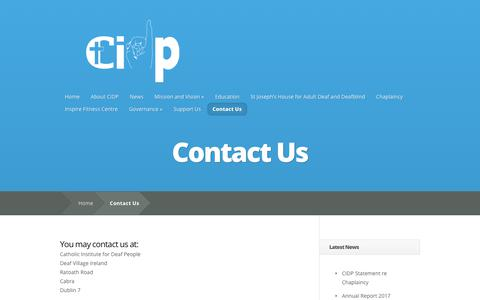Screenshot of Contact Page cidp.ie - Contact Us   Catholic Institute for Deaf People - captured Oct. 18, 2018