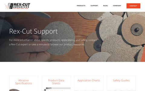 Screenshot of Support Page rexcut.com - Customer Support | Rex-Cut Abrasives - captured Aug. 14, 2018