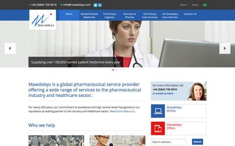 Screenshot of Home Page mawdsleys.co.uk - Pharmaceutical Distributor   Wholesale   Healthcare  - Mawdsleys - captured Jan. 17, 2018