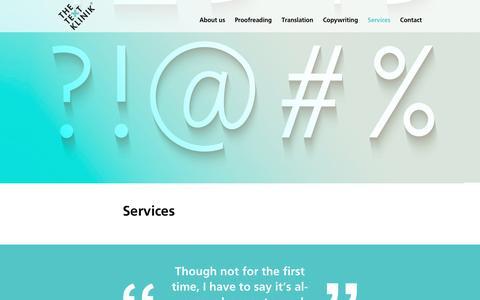 Screenshot of Services Page textklinik.de - Services - captured Dec. 22, 2016