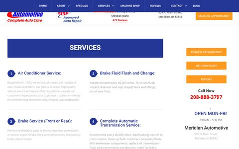 Screenshot of Services Page meridianautocare.com - Services - captured July 5, 2019