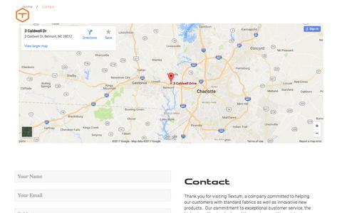 Screenshot of Contact Page textum.com - The best quality scrims & composite fabrics in North Carolina, USA | Textum - captured Nov. 9, 2017