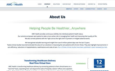 Screenshot of About Page amchealth.com - Remote Patient Monitoring | Connecting Payers, Providers and Patients - captured Feb. 4, 2016