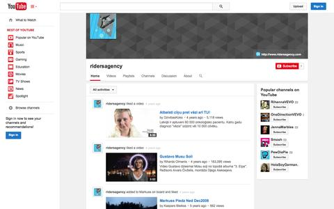 Screenshot of YouTube Page youtube.com - ridersagency  - YouTube - captured Oct. 29, 2014