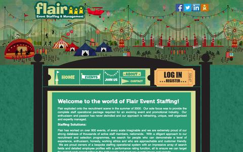 Screenshot of Home Page About Page Privacy Page Contact Page Login Page eventstaffing.co.uk - Flair Event Staffing - captured Oct. 6, 2014