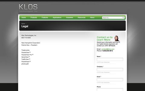 Screenshot of Terms Page klos.com - Legal - Klos Technologies, Inc - Klos Technologies, Inc - captured Oct. 6, 2014