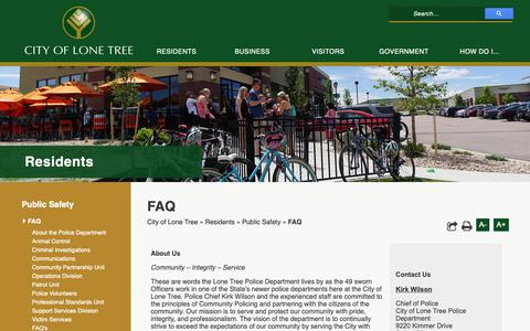 Screenshot of FAQ Page cityoflonetree.com - FAQ - City of Lone Tree - captured Sept. 28, 2018