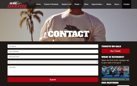 Screenshot of Contact Page sdgrowlers.com - Contact - San Diego Growlers - captured March 2, 2016