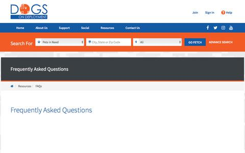 Screenshot of FAQ Page dogsondeployment.org - Frequently Asked Questions | Dogs On Deployment - captured Oct. 10, 2017