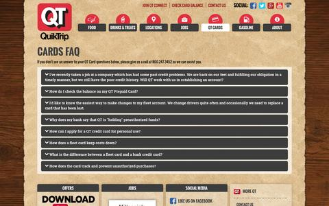 Screenshot of FAQ Page quiktrip.com - QuikTrip Corporation > QT Cards > FAQ - captured Dec. 16, 2015