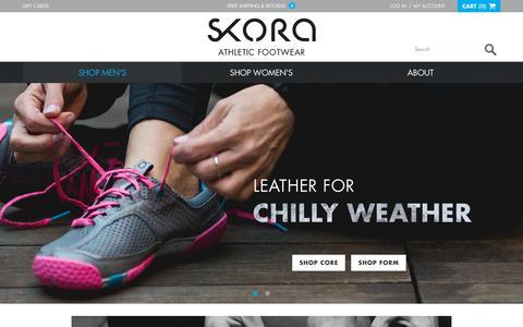 Screenshot of Home Page skorarunning.com - SKORA   Premium Running Footwear for Natural Movement - captured Nov. 24, 2015