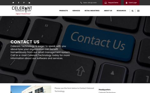 Screenshot of Contact Page celerant.com - Contact Us - Celerant Technology - captured Oct. 30, 2016