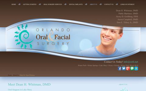Screenshot of About Page oofs.net - Dean H. Whitman, DMD | Orlando FL Oral Surgeon | Lake Mary Oral Surgeon - captured July 4, 2018
