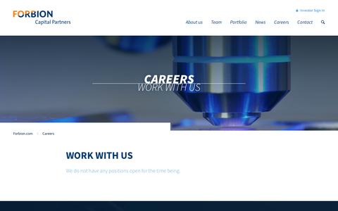 Screenshot of Jobs Page forbion.com - Careers | FORBION Capital Partners - captured Nov. 25, 2016