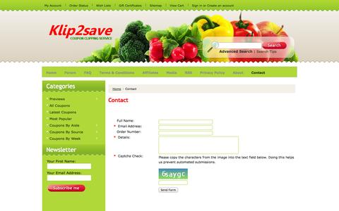 Screenshot of Contact Page klip2save.com - Contact Klip2save - captured Nov. 1, 2014