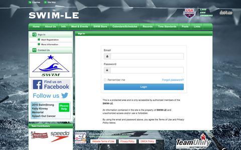 Screenshot of Login Page teamunify.com - SWIM-LE : Sign In - captured Dec. 6, 2016