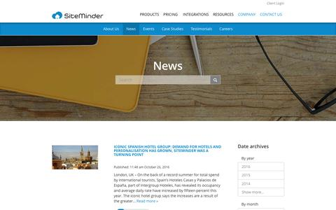 Screenshot of Press Page siteminder.com - Hospitality & Travel Industry News, Events, and Updates by SiteMinder - captured Oct. 27, 2016