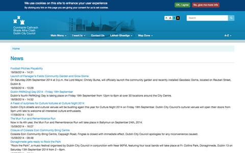 Screenshot of Press Page dublincity.ie - News | Dublin City Council - captured Sept. 22, 2014