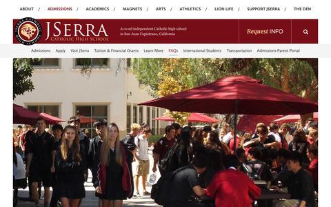Screenshot of FAQ Page jserra.org - FAQs - JSerra Catholic High School - captured Oct. 16, 2017