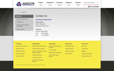 Screenshot of Contact Page americansignal.com - » Contact Us » American Signal Corporation - captured Oct. 1, 2014