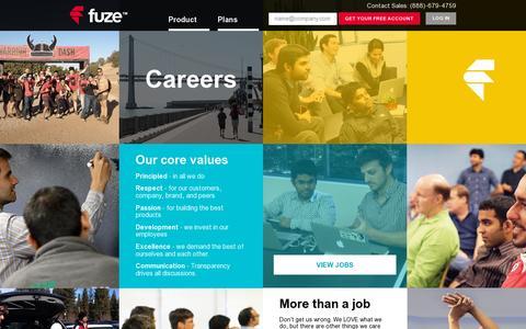 Screenshot of Jobs Page fuze.com - Make Web Meeting Software that Works - Fuze Careers | Fuze - captured July 20, 2014
