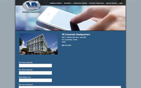 Screenshot of Contact Page vr-ma.com - Contact Us | VR Mergers & Acquisitions - captured Feb. 23, 2016