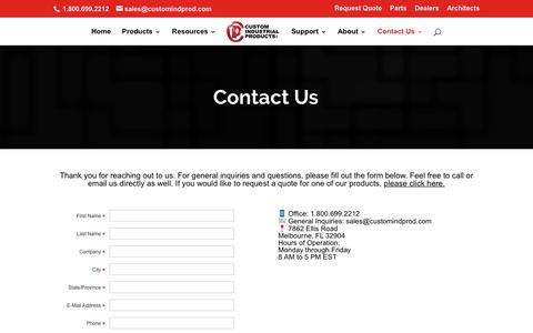 Screenshot of Contact Page customindprod.com - Contact CIP Today | Custom Industrial Products - captured Feb. 20, 2018