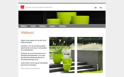 Screenshot of Home Page vdg.be - Van der Gucht pottery en bamboo - pottery en bamboo - captured Oct. 6, 2014