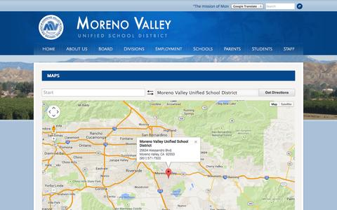Screenshot of Maps & Directions Page mvusd.net - Moreno Valley Unified School District - captured Oct. 7, 2014