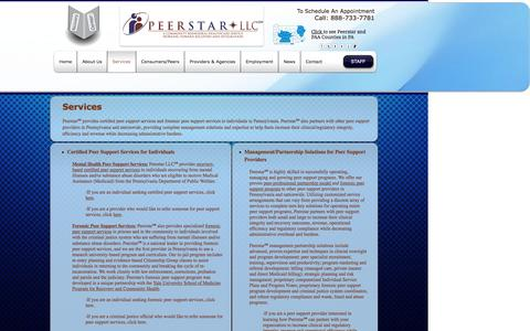 Screenshot of Services Page peerstarllc.com - Services - captured May 15, 2017
