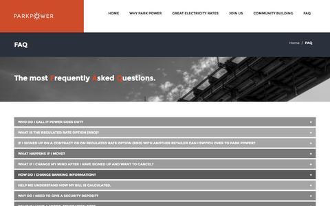 Screenshot of FAQ Page parkpower.ca - FAQ - - captured Sept. 27, 2014