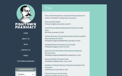 Screenshot of Press Page fishtownpharmacy.com - Press - Fishtown Pharmacy - captured Nov. 4, 2018