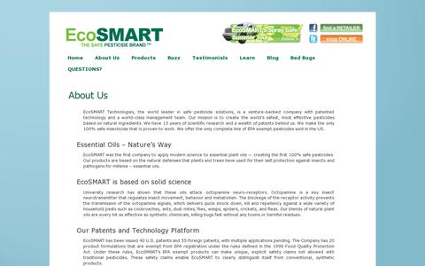 Screenshot of About Page ecosmart.com - About Us «  Safe Pesticides for Home | EcoSMART Organic Insecticide Bug Spray - captured July 19, 2014
