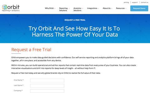 Screenshot of Trial Page orbitanalytics.com - Free Trial | Orbit Reporting + Analytics - captured Oct. 8, 2019